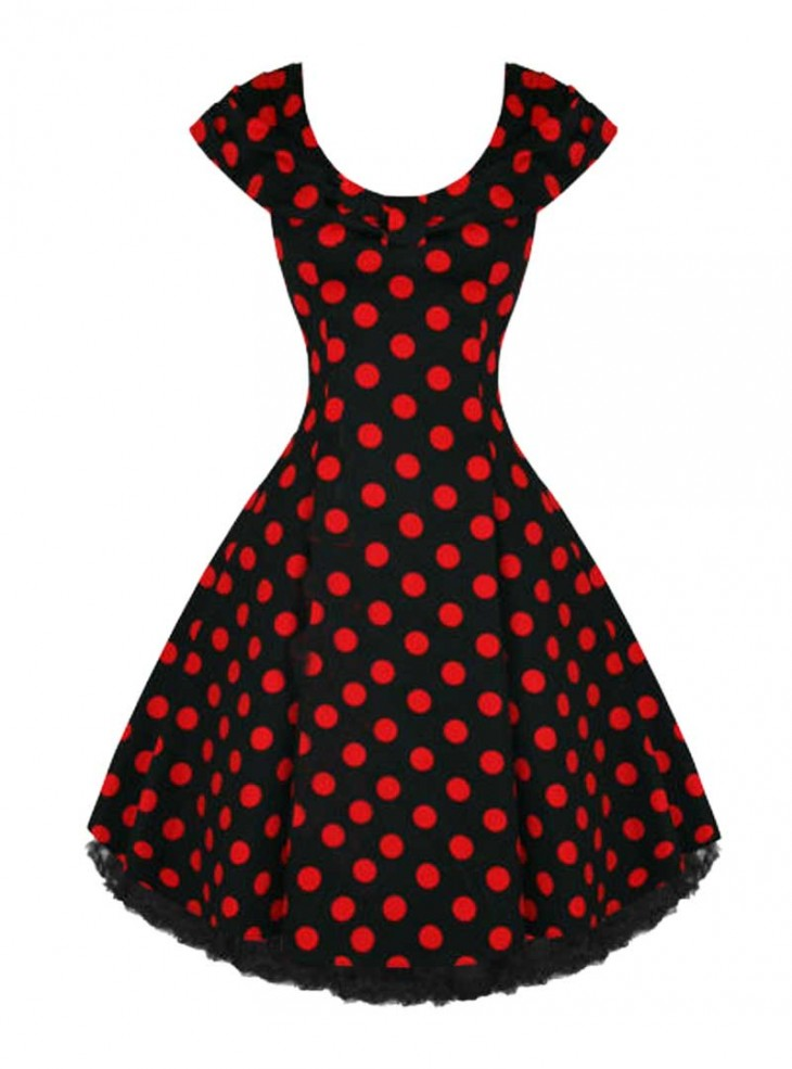 """Robe Rockabilly Vintage Années 50 HR London """"Black Red Big Dot"""""""