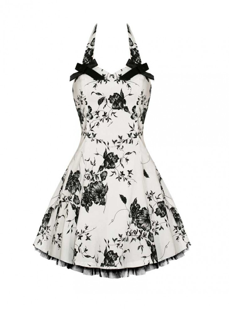 "Robe Courte Rockabilly Vintage HR London ""White Black Flowers"""