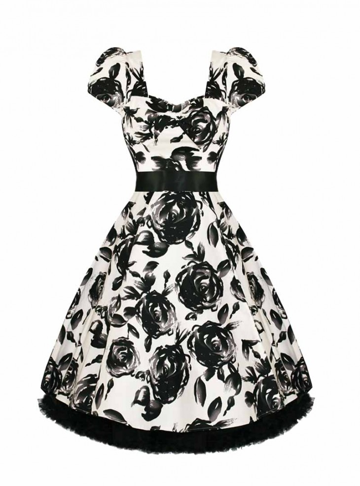 "Robe Rockabilly Vintage Retro HR London ""White Black Floral"""
