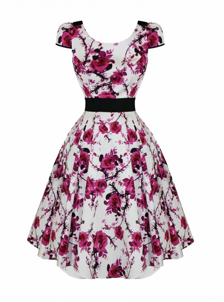 "Robe Rockabilly Vintage Retro HR London ""Long Pink Floral"""