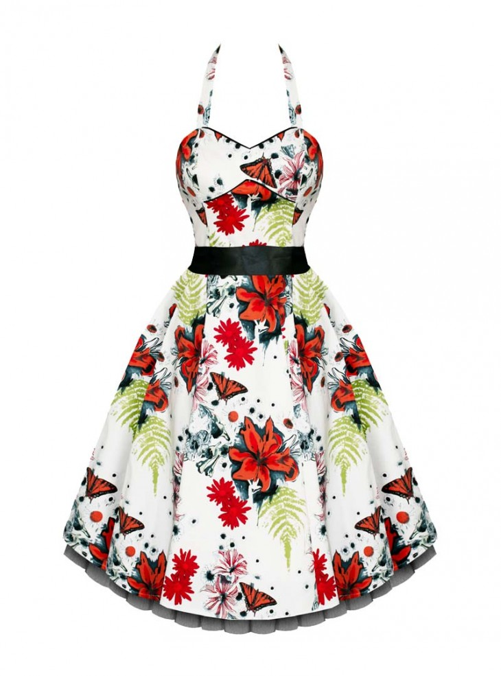 "Robe Rockabilly Vintage Retro HR London ""White Orange Floral"""