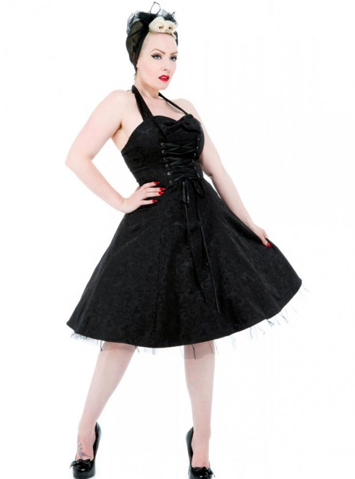 "Robe mi-longue Rockabilly Gothique HR London ""Black Brocade"""