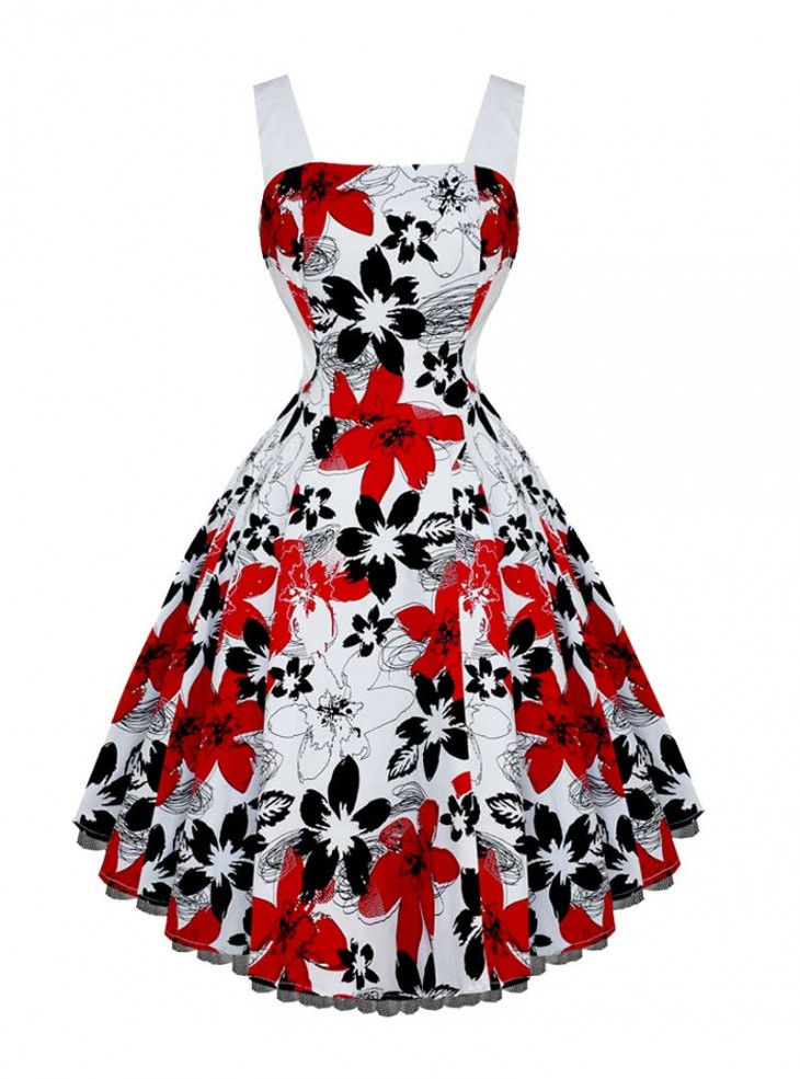 "Robe Rockabilly Vintage Retro HR London ""White Red Floral"""