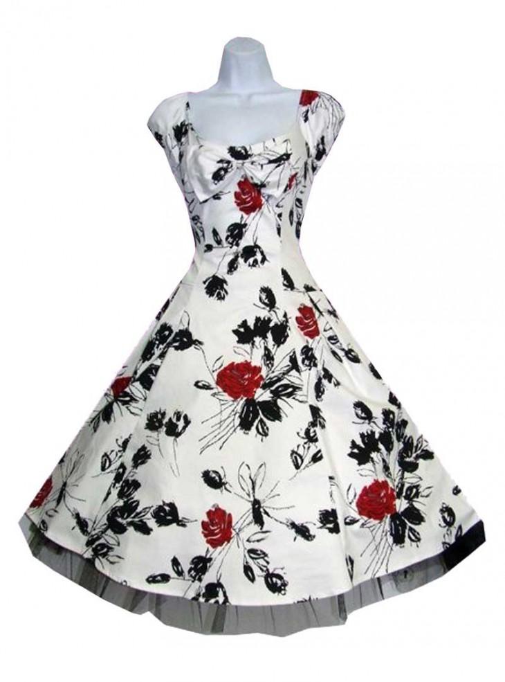 "Robe Vintage Retro Rockabilly HR London ""White Black Red Floral"""