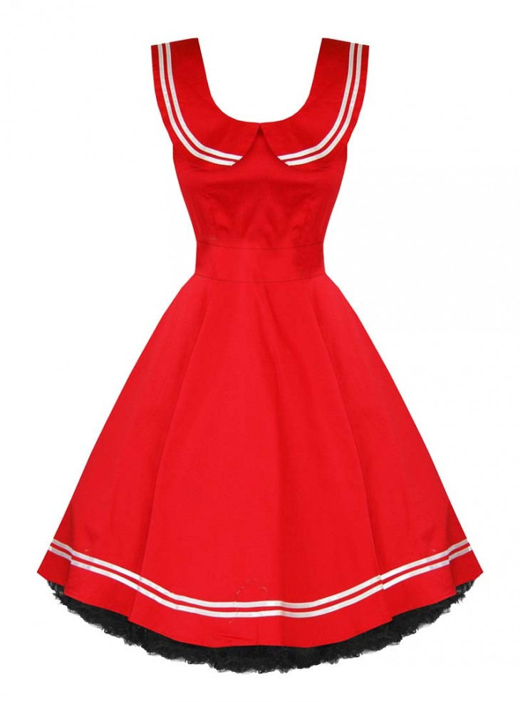 "Robe Sailor Rockabilly Vintage Retro Rouge HR London ""Red Sailor"""