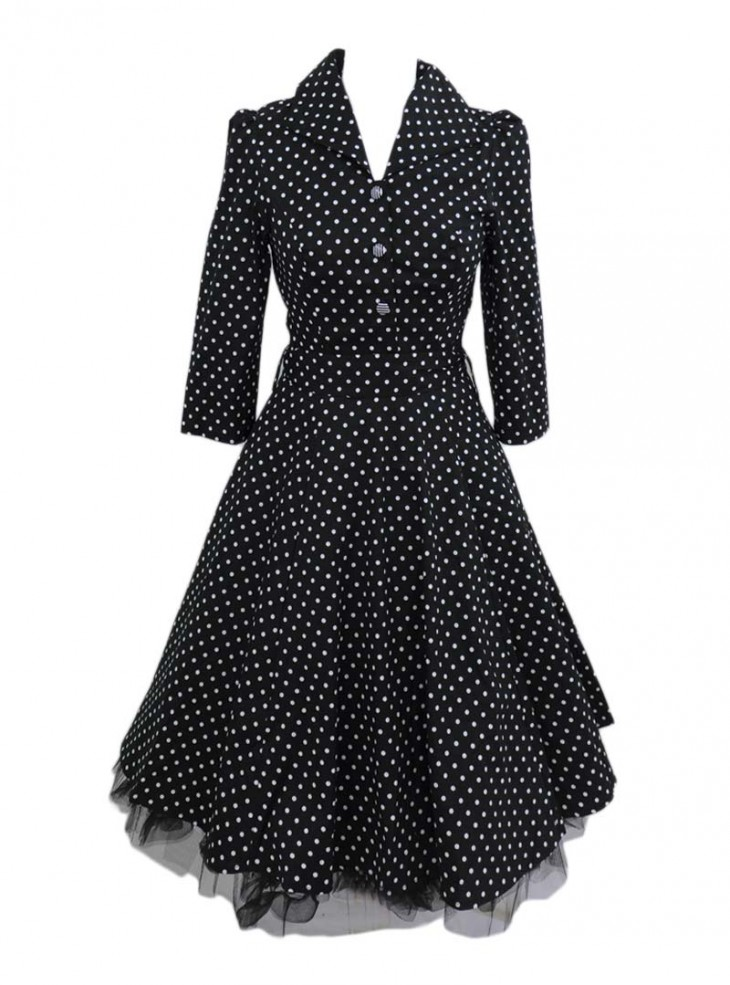 "Robe Rockabilly Vintage Retro HR London ""Black White Polka"""