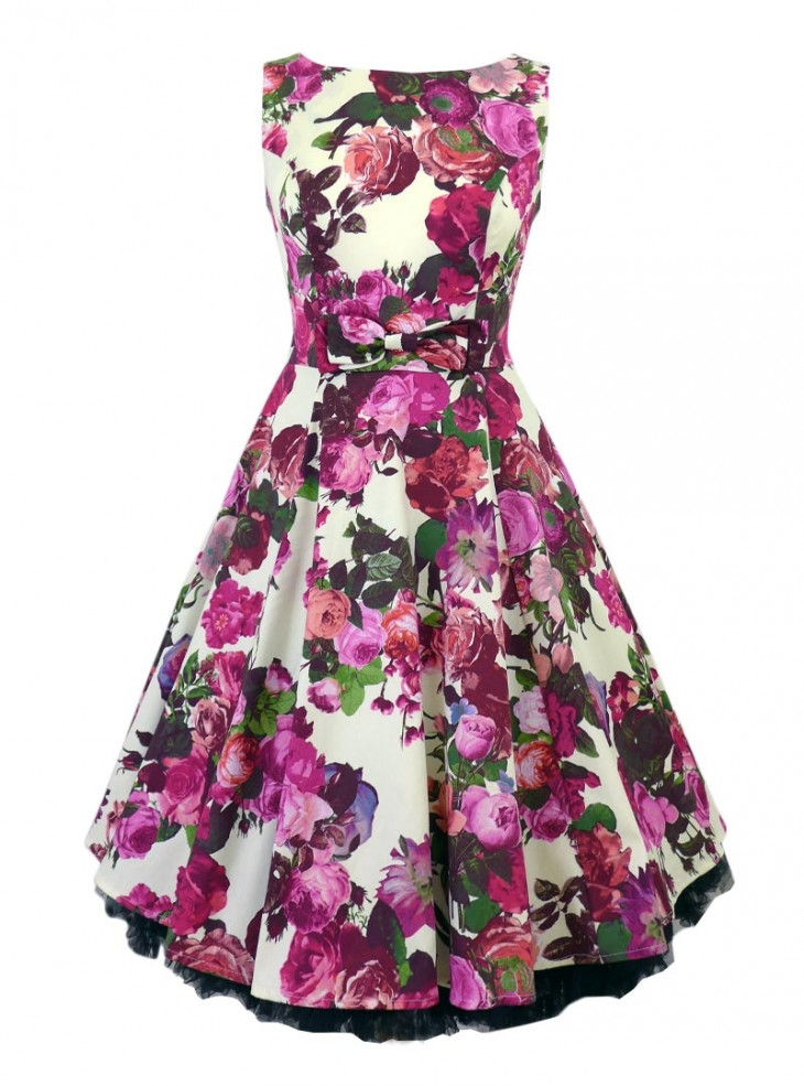 "Robe Rockabilly Pin-Up Vintage HR London ""White Rose Floral"""