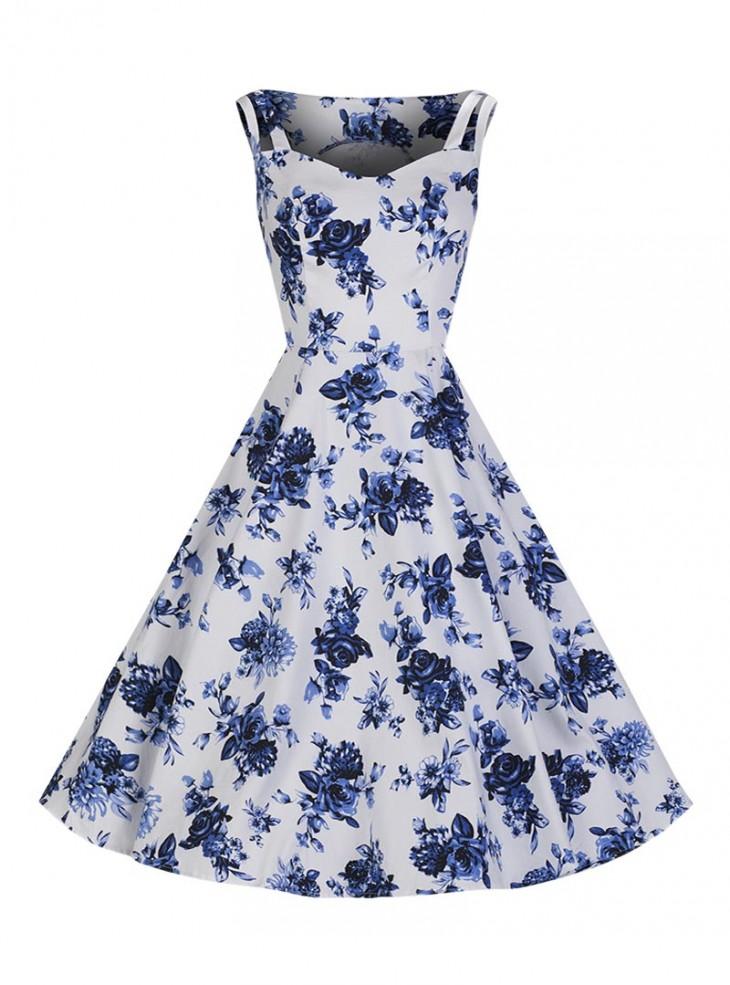 "Robe Rockabilly Vintage Retro HR London ""Blue Flowers"""
