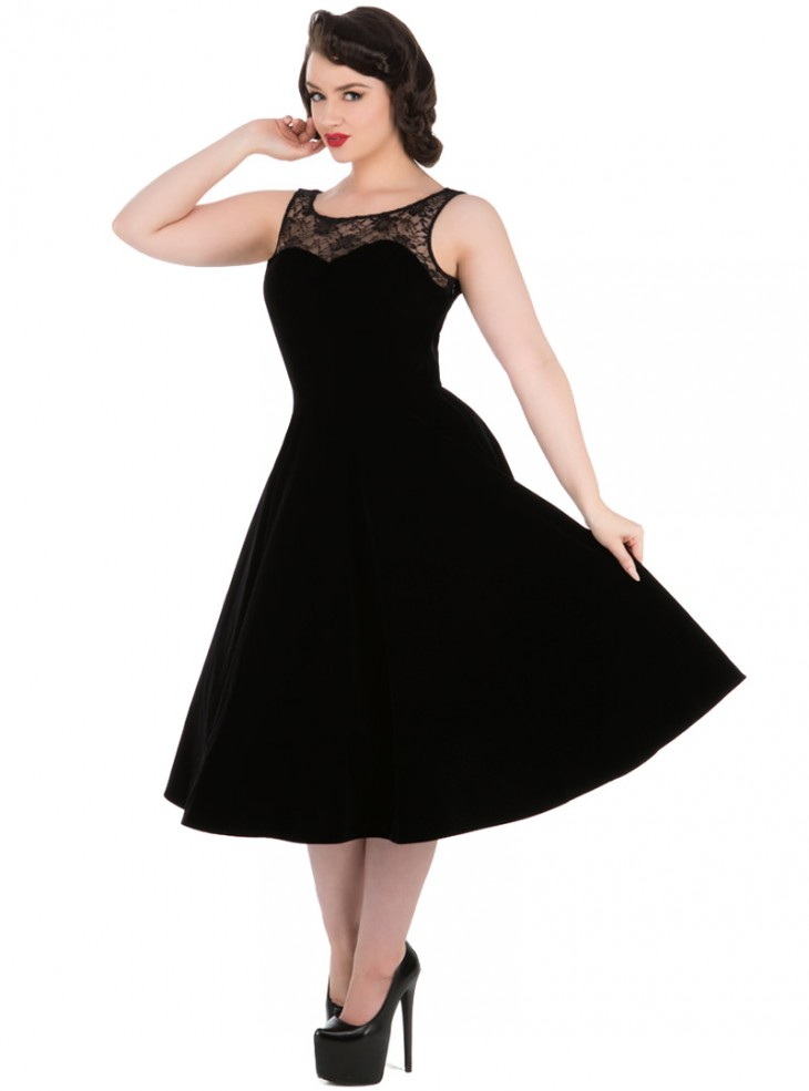 "Robe Velours Rockabilly Gothique HR London ""Black Velvet Romance"""
