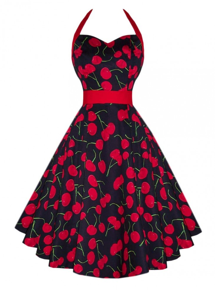 "Robe Pin-Up Retro Vintage HR London ""Black Red Cherry"""