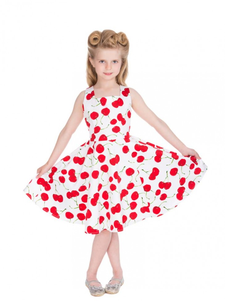 "Robe Enfant Fille Rockabilly Pin-Up Retro HR London ""White Red Cherry"""
