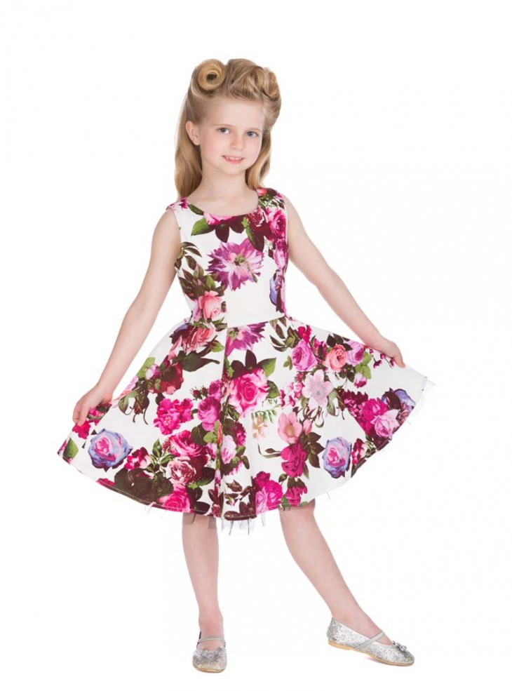 "Robe Enfant Fille Rockabilly Pin-Up Vintage HR London ""Audrey Floral"""