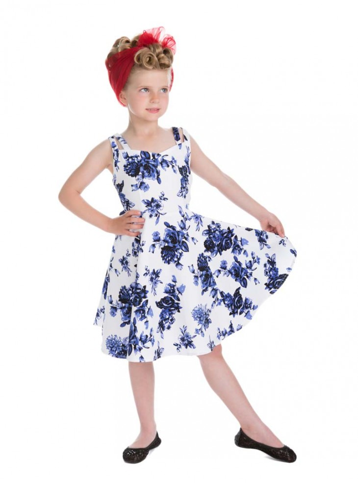 "Robe Enfant Fille Rockabilly Pin-Up Vintage HR London ""Blue Flowers"""