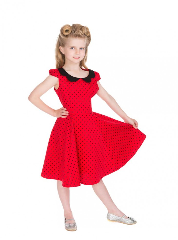 "Robe Enfant Fille Rockabilly Pin-Up Retro HR London ""Red Black Small Dots"""