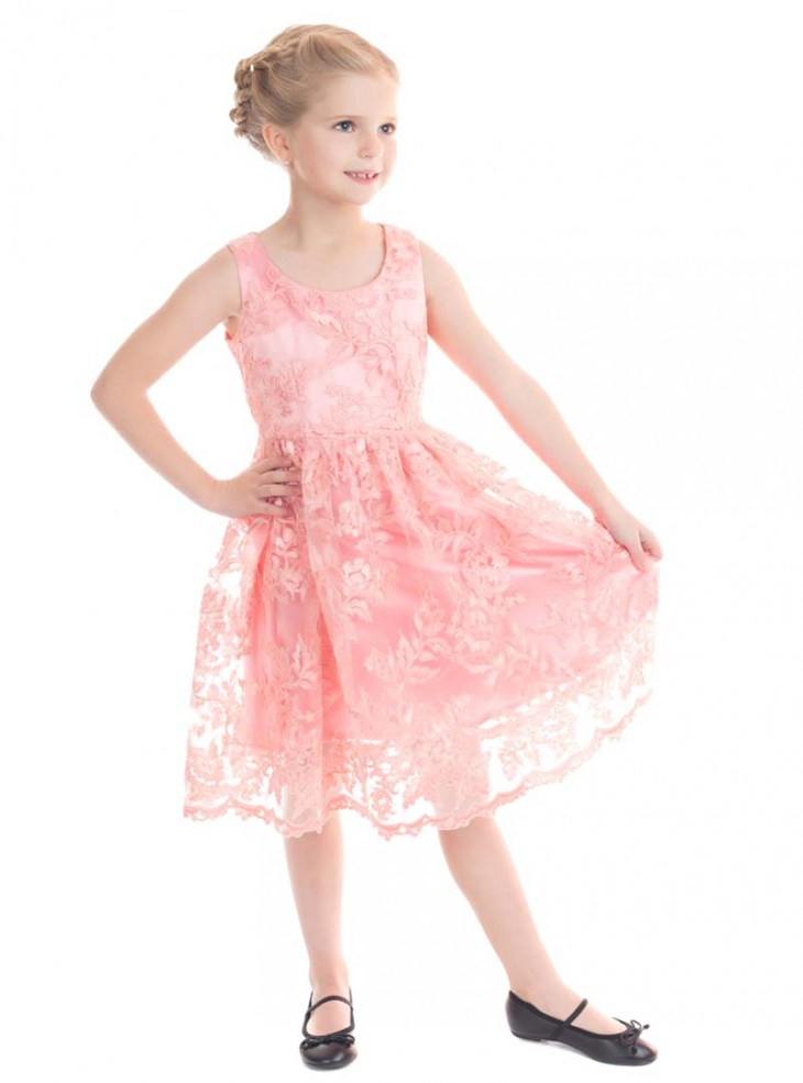 "Robe Enfant Fille Rockabilly Pin-Up Retro HR London ""Pink Chantilly"""
