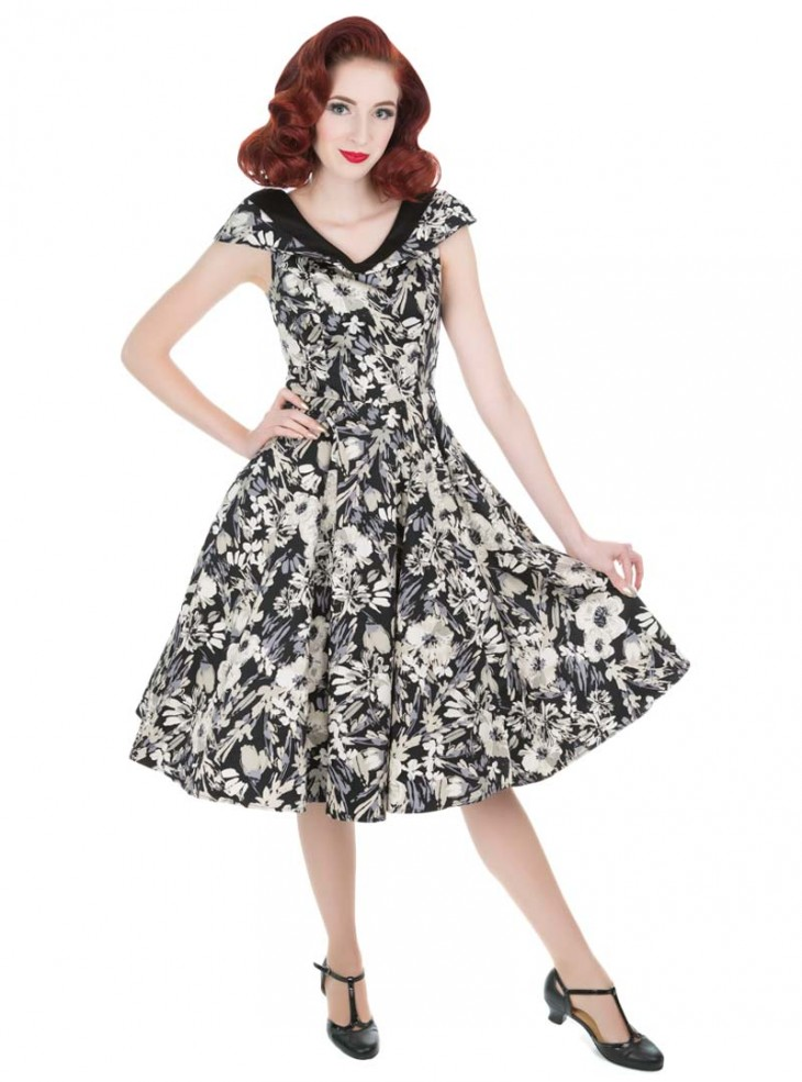 "Robe Rockabilly Retro Vintage HR London ""Clematis Floral"""