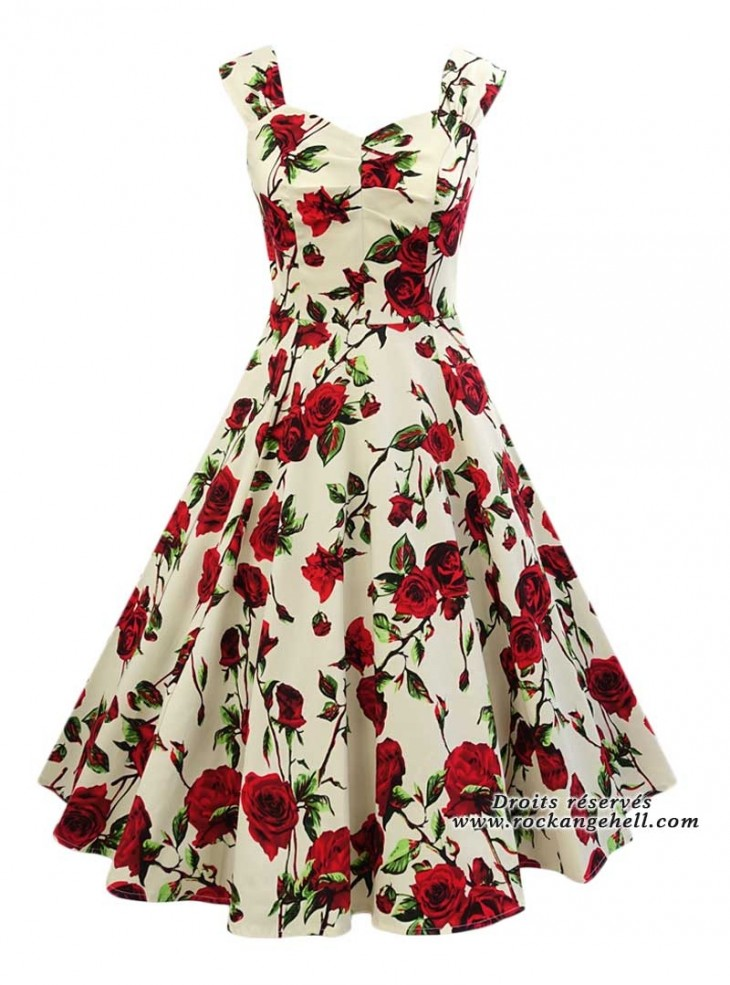 "Robe Pin-Up Rockabilly Retro HR London ""Ditsy Rose Floral"""