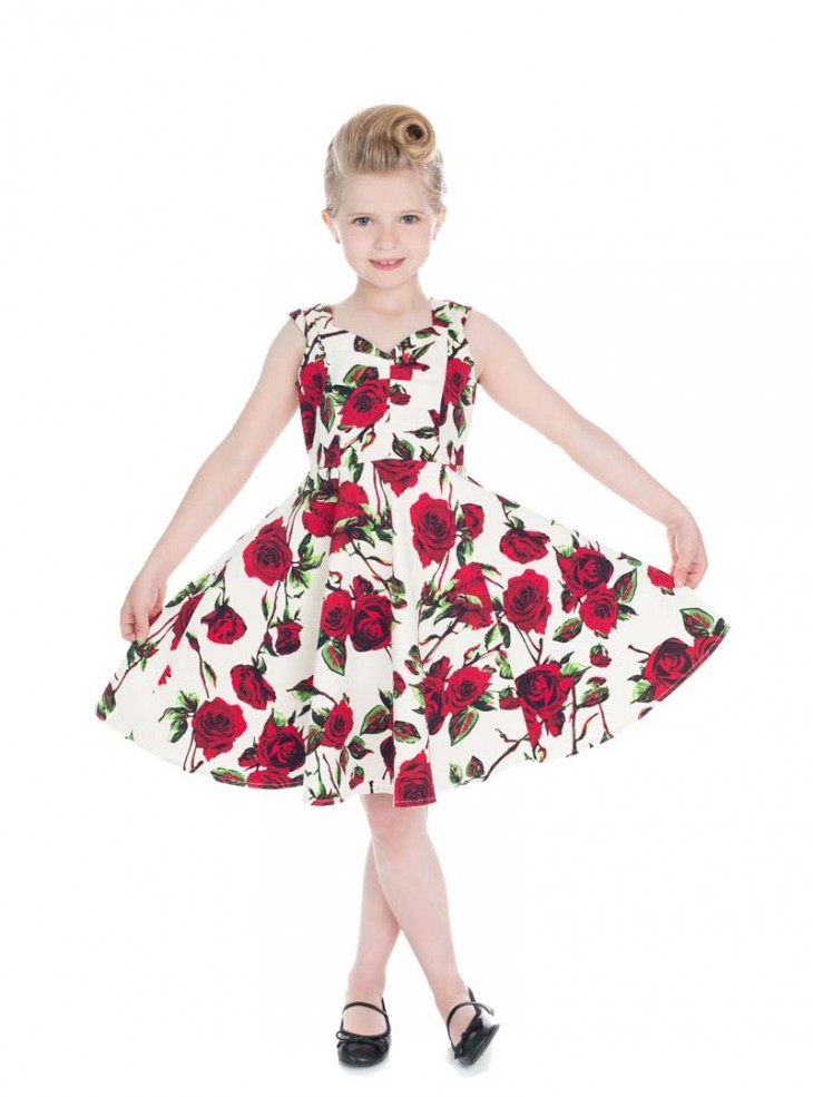 "Robe Enfant Fille Rockabilly Années 50 Vintage HR London ""Ditsy Rose"""
