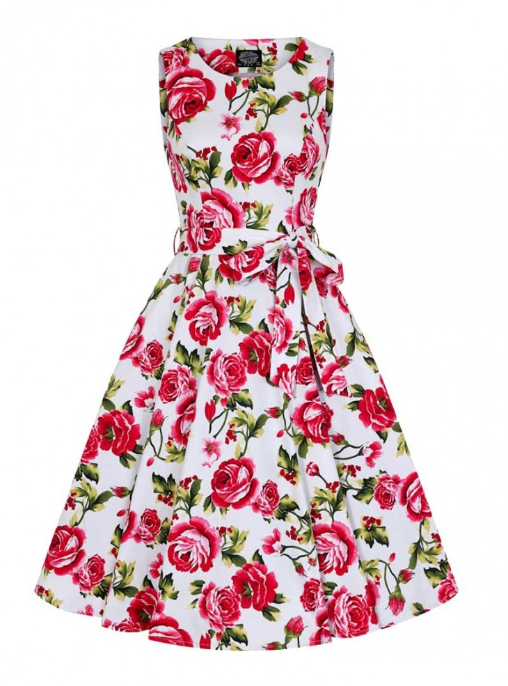 "Robe Années 50 Rockabilly Pin-Up HR London ""Sweet Rose"""
