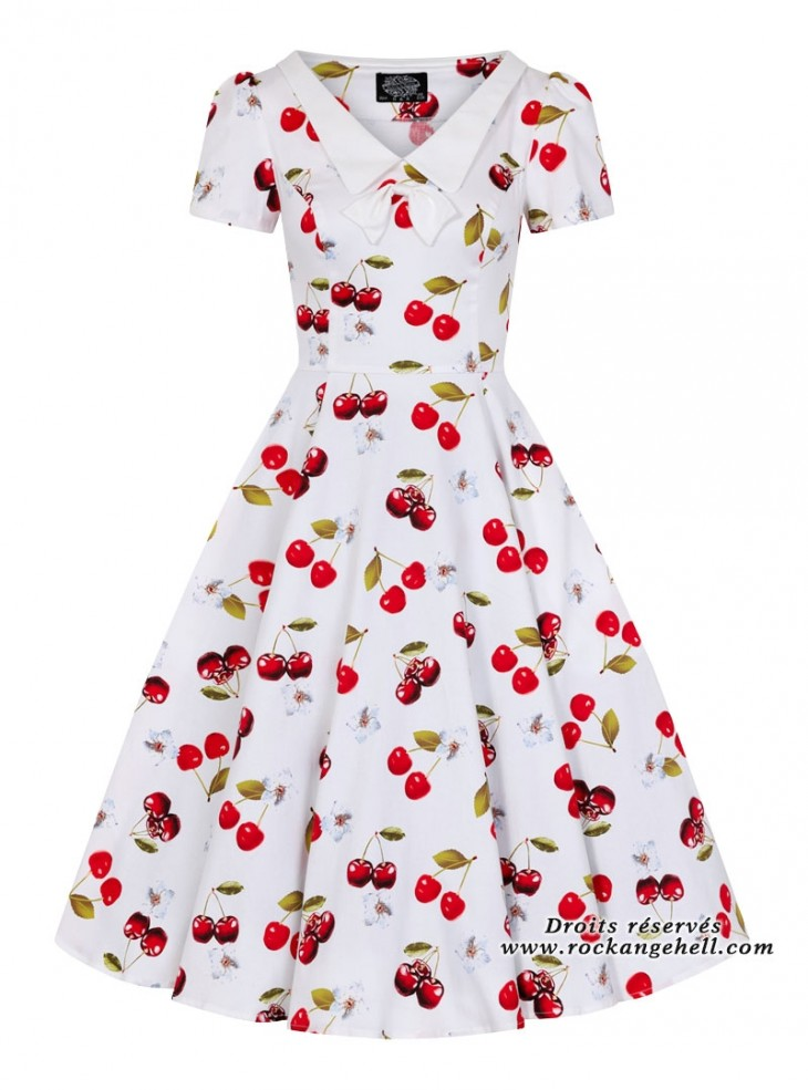 "Robe Années 50 Pin-Up Rockabilly HR London ""Cherry On Top"""