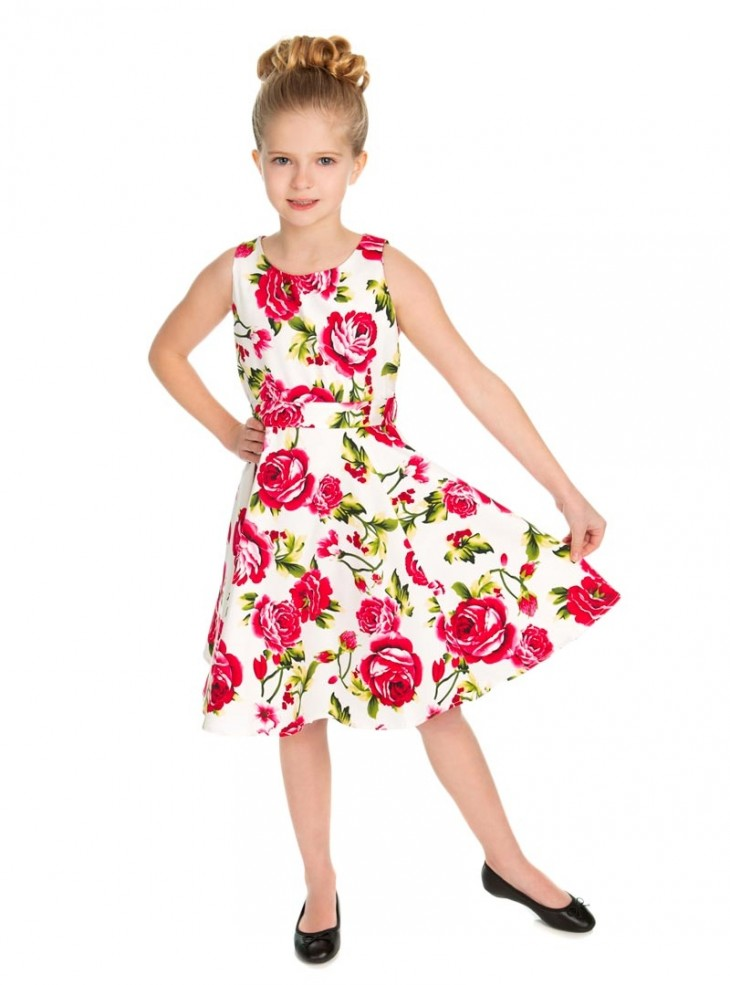 "Robe Enfant Fille Rockabilly Retro Vintage HR London ""Sweet Rose"""