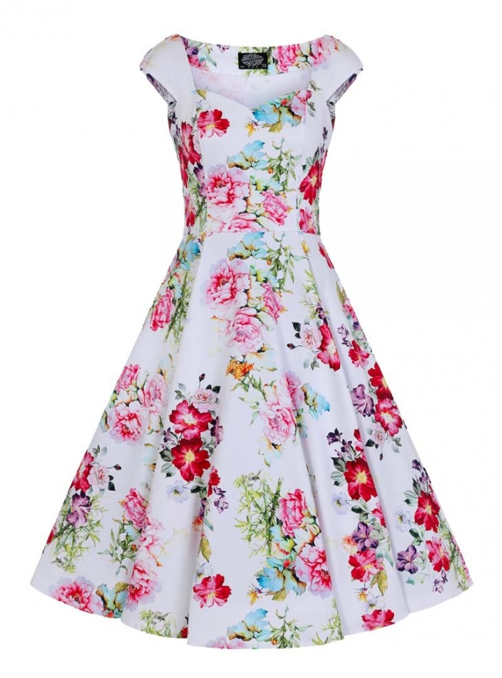 "Robe Pin-Up Années 50 Rockabilly HR London ""Rose Paradise"""