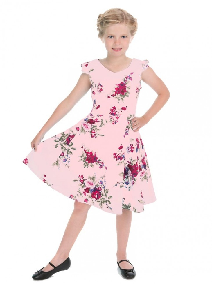 "Robe Enfant Fille Retro Rockabilly HR London ""Pink Royal Ballet"""