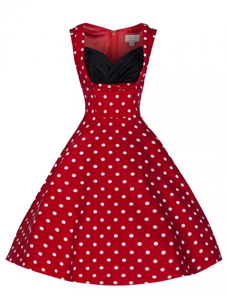 """Robe Pin-up Rockabilly Vintage Lindy Bop """"Ophelia Red White Dots"""""""