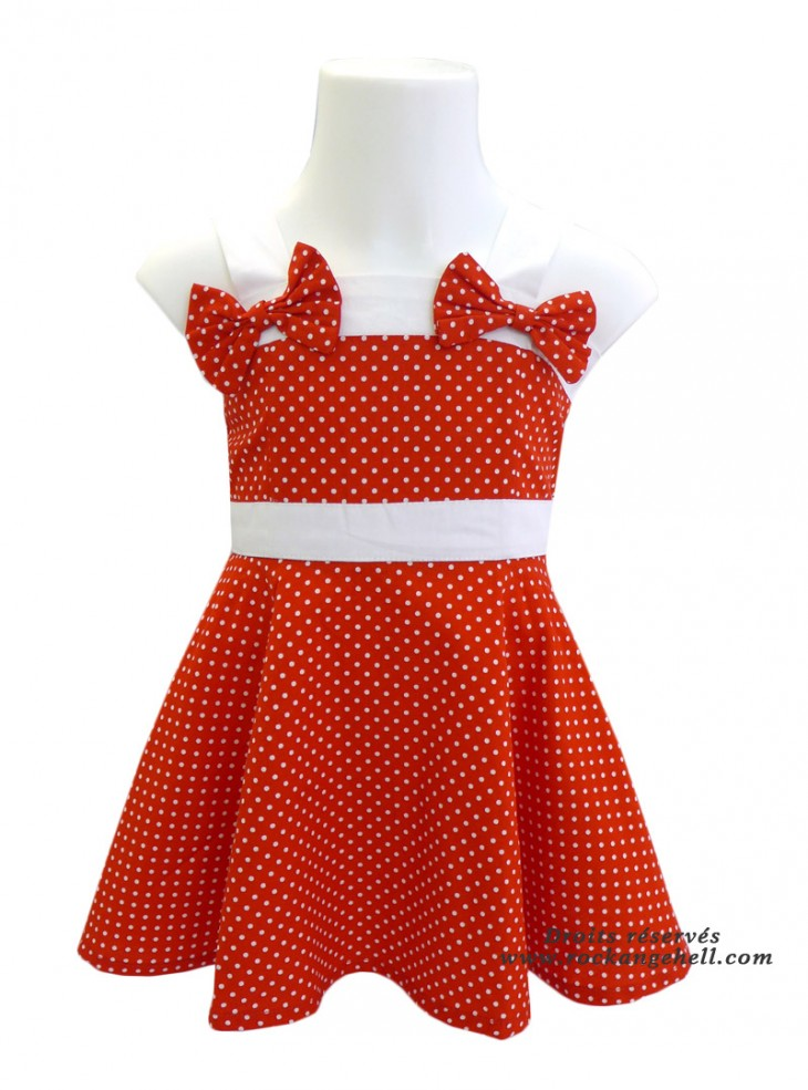 "Robe Enfant Fille Rockabilly Pin-Up Retro Rock Ange'Hell ""Laura Red White Dots"""