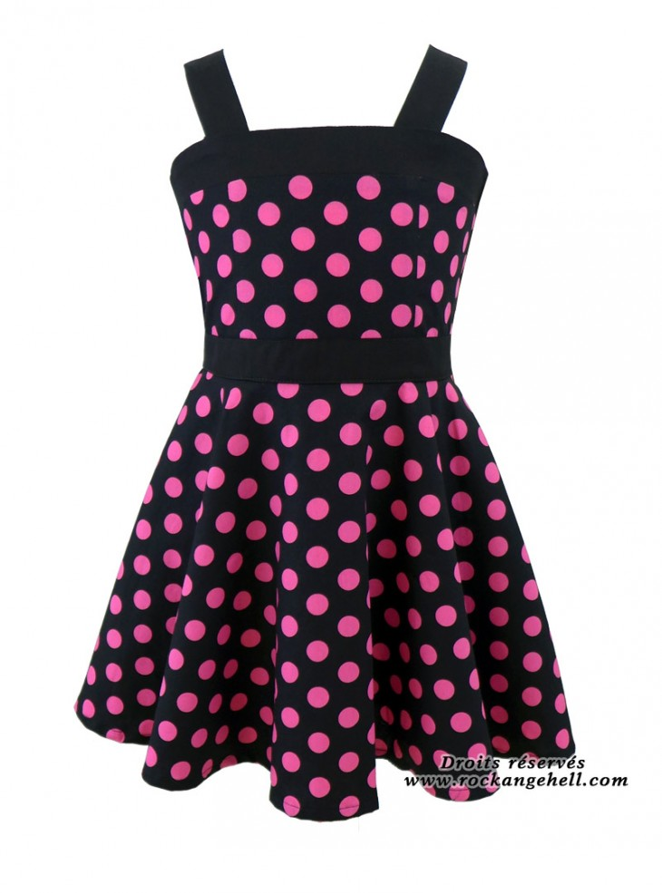 "Robe Enfant Fille Rockabilly Retro Rock Ange'Hell ""Zoe Black Big Pink Dots"""