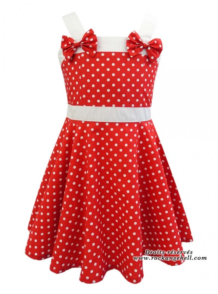 """Robe Enfant Fille Rockabilly Vintage Retro Rock Ange'Hell """"Laura Red White Small dots"""""""