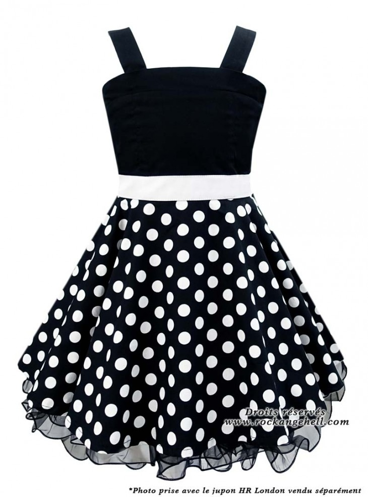 "Robe Enfant Fille Retro Rockabilly Vintage Rock Ange'Hell ""Zoe Black White dots"""