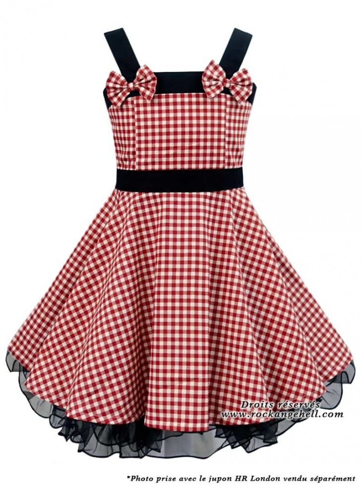 "Robe Enfant Fille Rockabilly Vintage Retro Rock Ange'Hell ""Laura Red Vichy"""