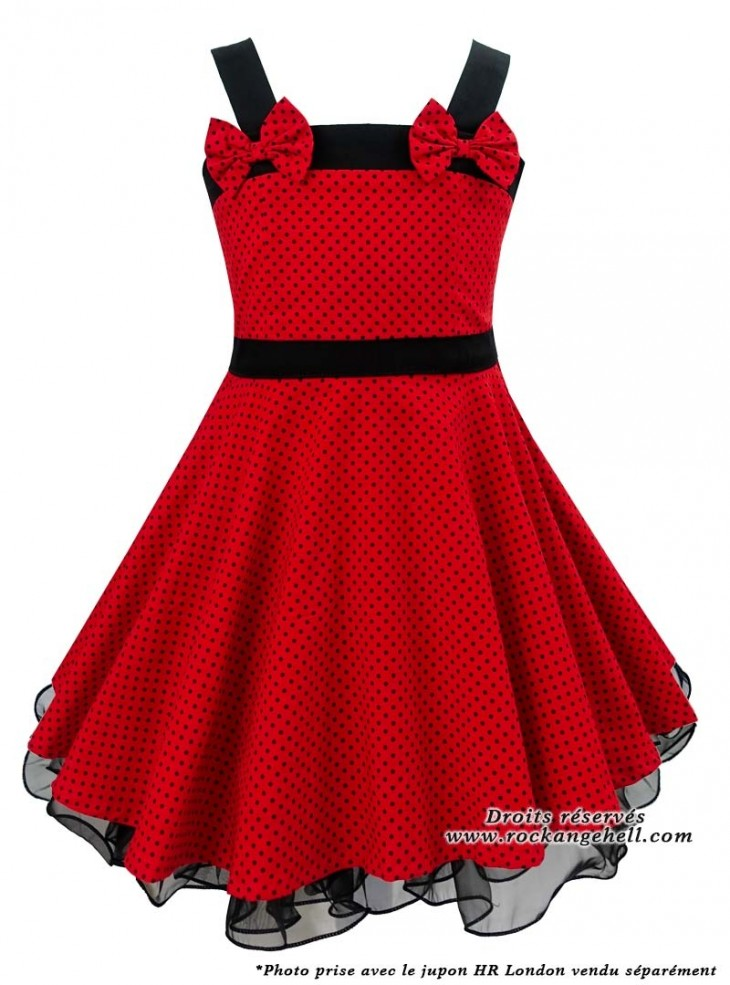 "Robe Enfant Fille Rockabilly Vintage Retro Rock Ange'Hell ""Laura Red Black Small Dots"""