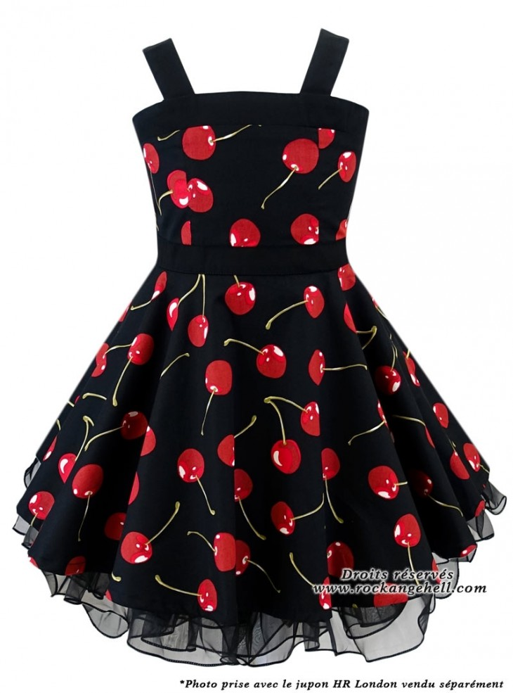 "Robe Enfant Fille Rockabilly Retro Vintage Rock Ange'Hell ""Zoe Black Cherry"""