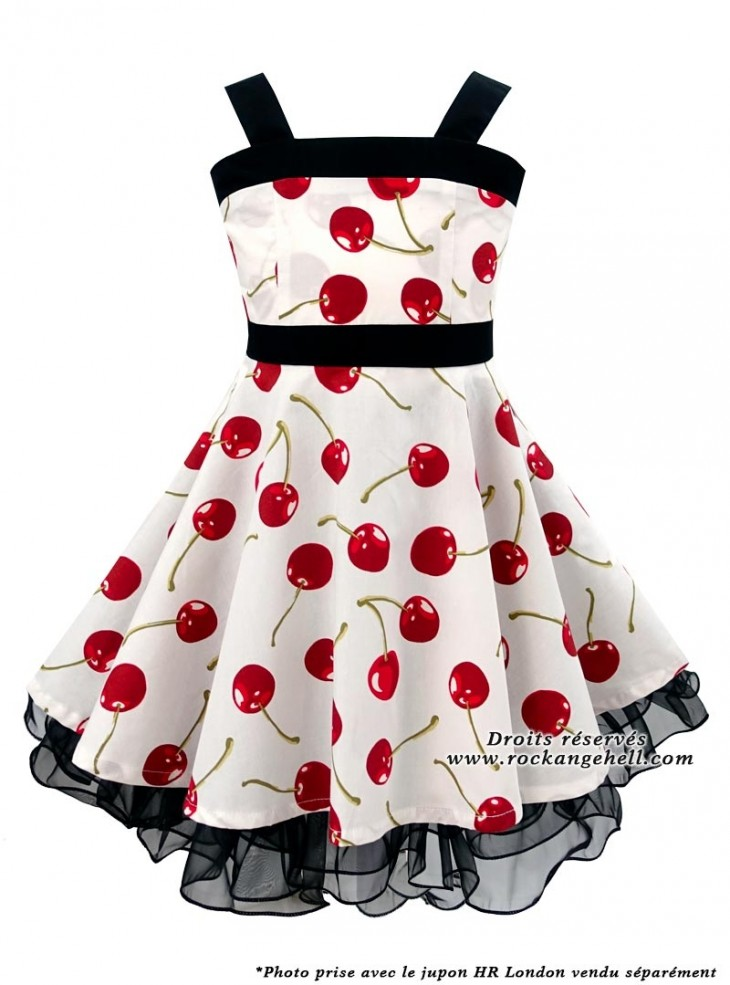"Robe Enfant Fille Vintage Rockabilly Retro Rock Ange'Hell ""Zoe White Cherry"""