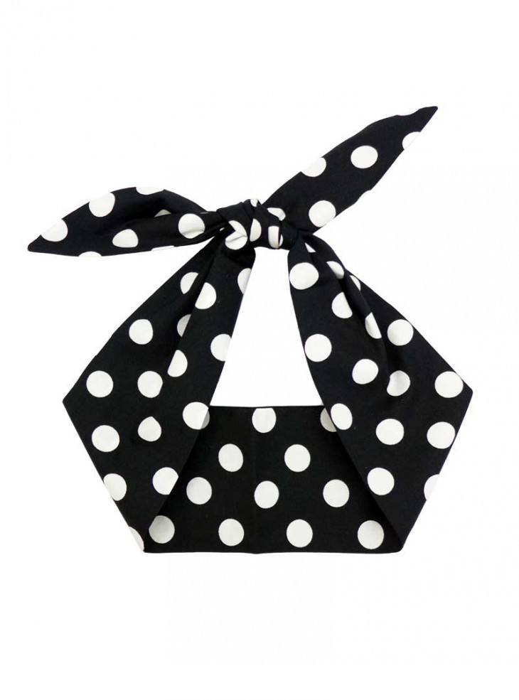 "Foulard Cheveux Rockabilly Vintage Retro Rock Ange'Hell ""Black Big White Dots"""