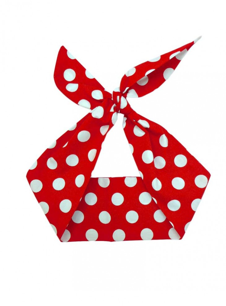 "Foulard Cheveux Pin-Up Rockabilly Retro Rock Ange'Hell ""Red Big White Dots"""
