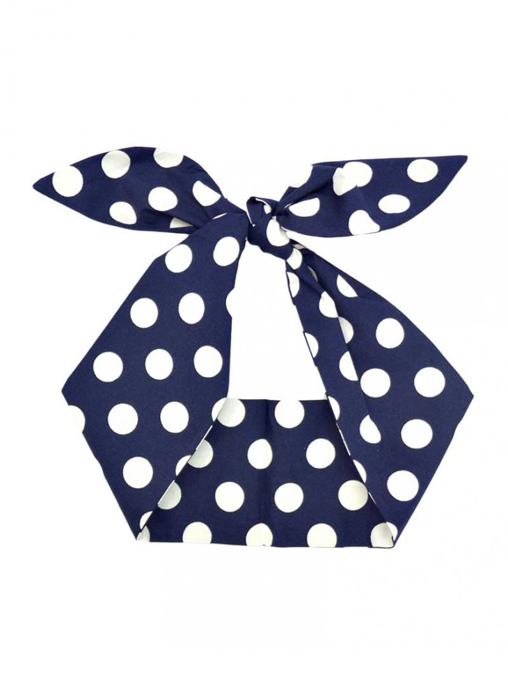 "Foulard Cheveux Pin-Up Rockabilly Retro Rock Ange'Hell ""Dark Blue Big White Dots"""
