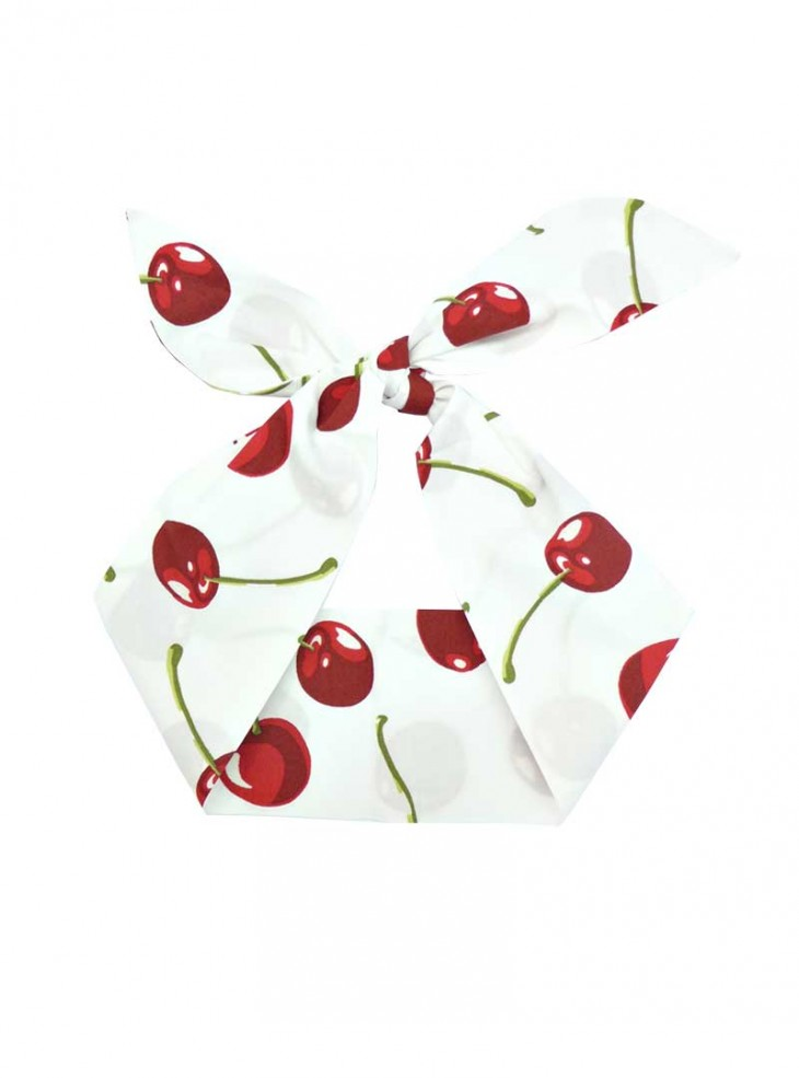 """Foulard Cheveux Pin-Up Rockabilly Retro Rock Ange'Hell """"White Red Cherry"""""""