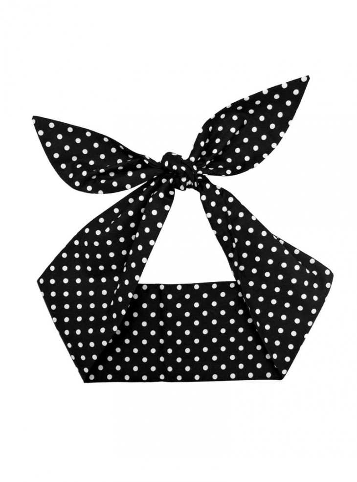 """Foulard Cheveux Pin-Up Rockabilly Retro Rock Ange'Hell """"Black Small White Dots"""""""