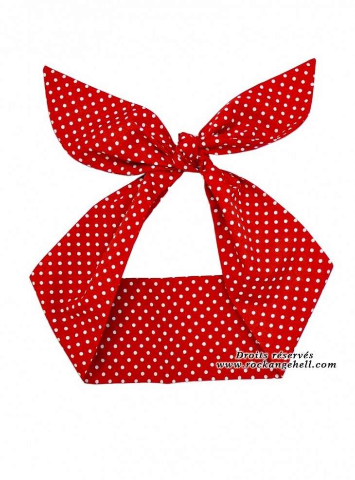 "Foulard Cheveux Pin-Up Rockabilly Retro Rock Ange'Hell ""Red Small White Dots"""