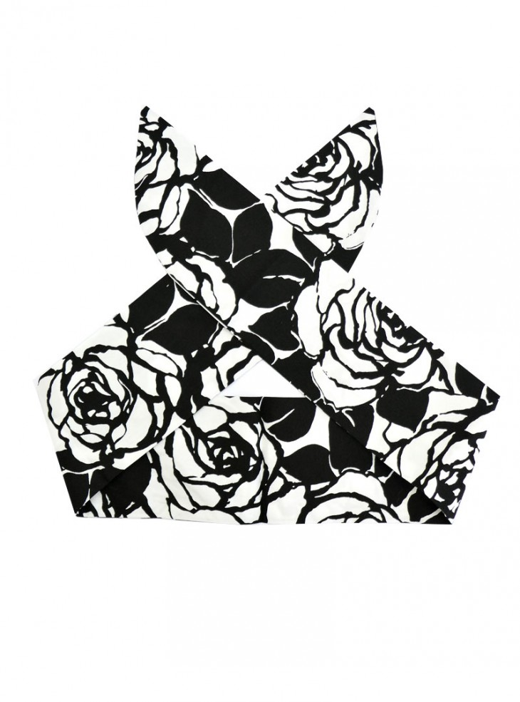 """Foulard Cheveux Pin-Up Rockabilly Retro Rock Ange'Hell """"White Flowers"""""""