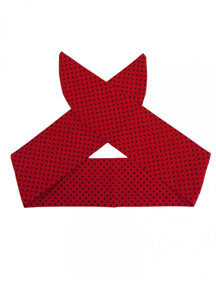 "Foulard Cheveux Pin-Up Rockabilly Retro Rock Ange'Hell ""Red Mini Black Dots"""