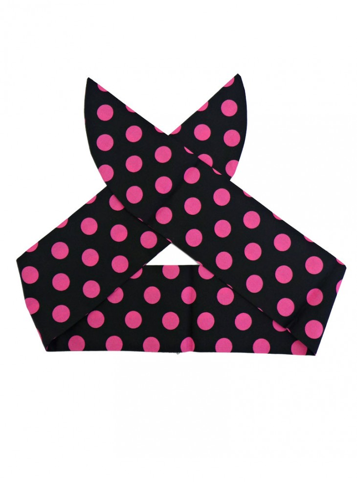 "Foulard Cheveux Pin-Up Rockabilly Retro Rock Ange'Hell ""Black Big Pink Dots"""
