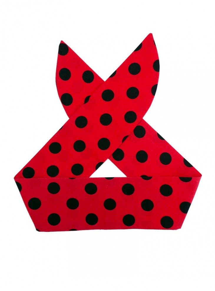 "Foulard Cheveux Rockabilly Retro Vintage Rock Ange'Hell ""Red Big Black Dots"""