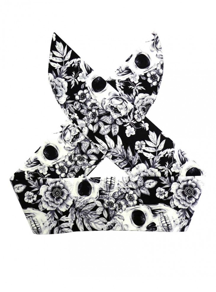 "Foulard Cheveux Rock Gothique Rock Ange'Hell ""White Skulls"""