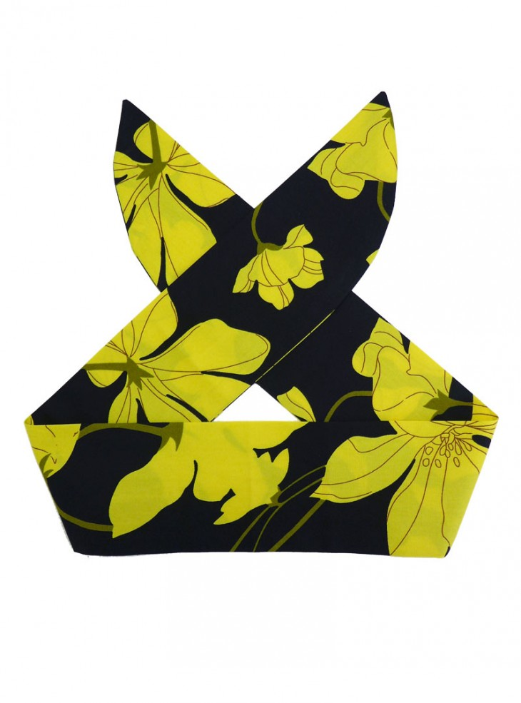 "Foulard Cheveux Pin-Up Rockabilly Retro Rock Ange'Hell ""Yellow Flowers"""