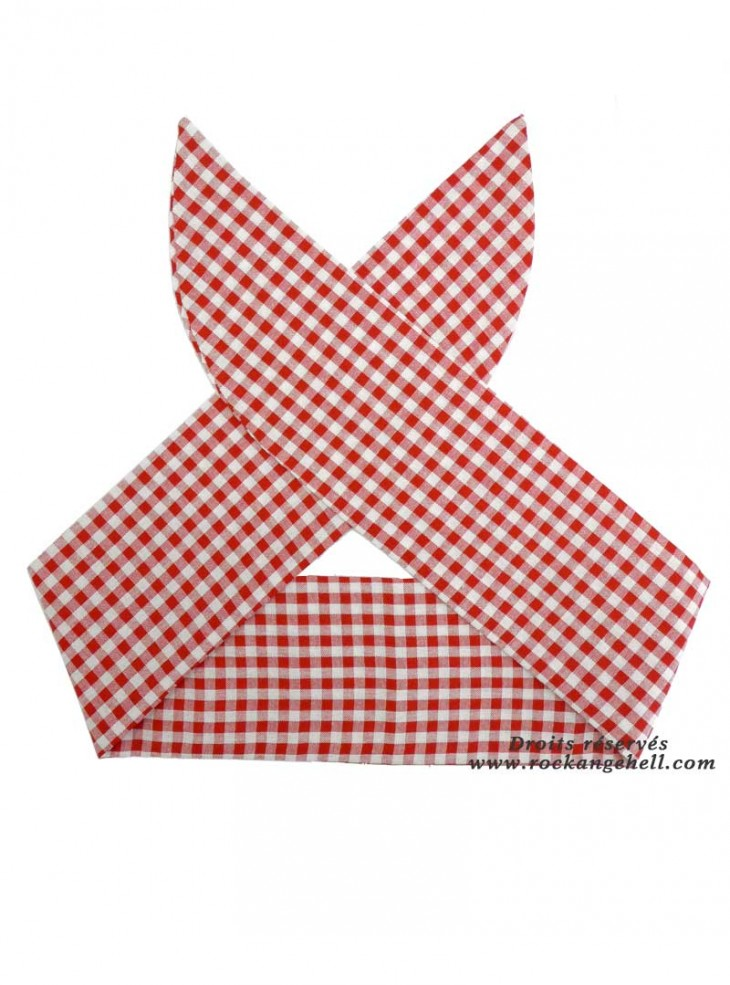 """Foulard Cheveux Pin-Up Rockabilly Années 50 Rock Ange'Hell """"Red Vichy"""""""