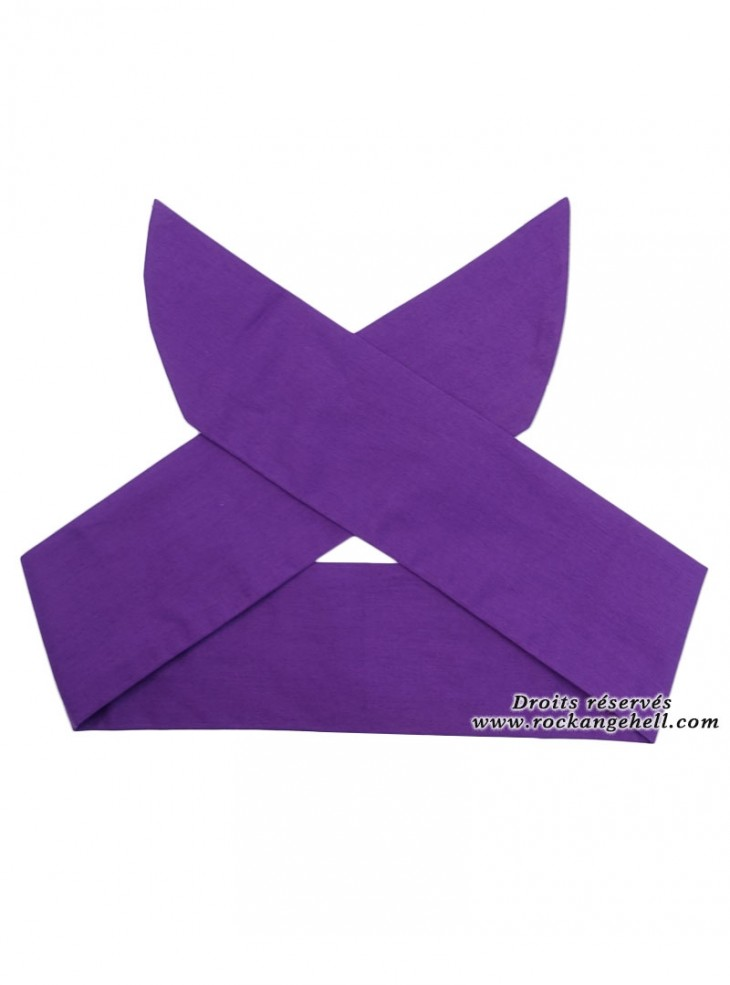 "Foulard Cheveux Rockabilly Pin-Up Rock Ange'Hell ""Purple"""